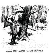 Swine Clipart of Retro Vintage Black and White Boy Hunting Pig by Prawny Vintage