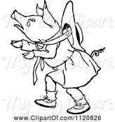 Swine Clipart of Retro Vintage Black and White Crying Pig Girl by Prawny Vintage