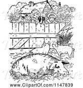 Swine Clipart of Retro Vintage Black and White Dog and Children Looking into a Pig Pen by Prawny Vintage
