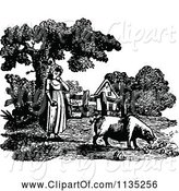 Swine Clipart of Retro Vintage Black and White Girl Feeding a Pig by Prawny Vintage