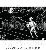 Swine Clipart of Retro Vintage Black and White Guy and Flying Pig by Prawny Vintage