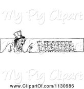 Swine Clipart of Retro Vintage Black and White Guy and Pig Border by Prawny Vintage