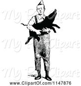 Swine Clipart of Retro Vintage Black and White Guy Carrying a Pig by Prawny Vintage