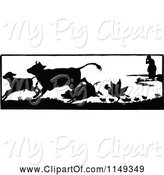 Swine Clipart of Retro Vintage Black and White Lady and Running Farm Animals by Prawny Vintage