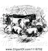 Swine Clipart of Retro Vintage Black and White Livestock Farm Animals by Prawny Vintage