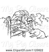 Swine Clipart of Retro Vintage Black and White Old Lady and Pig 1 by Prawny Vintage