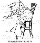 Swine Clipart of Retro Vintage Black and White Pig Eating at a Table by Prawny Vintage