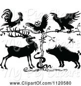Swine Clipart of Retro Vintage Black and White Rooster Owl Crow Deer Snake and Pig by a Tree by Prawny Vintage