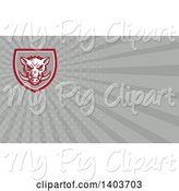 Swine Clipart of Retro Wild Boar Head and Gray Rays Background or Business Card Design by Patrimonio