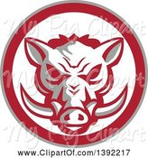 Swine Clipart of Retro Wild Boar Head in a Gray Red and White Circle by Patrimonio