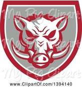Swine Clipart of Retro Wild Boar Head in a Gray Red and White Shield by Patrimonio