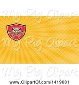 Swine Clipart of Retro Wild Hog Boar Head Biting Crossed Polo Mallets and Rays Background or Business Card Design by Patrimonio