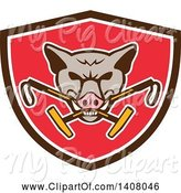 Swine Clipart of Retro Wild Hog Boar Head Biting Crossed Polo Mallets in a Brown White and Red Shield by Patrimonio
