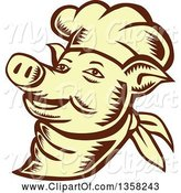 Swine Clipart of Retro Woodcut Brown and Yellow Chef Pig Face by Patrimonio