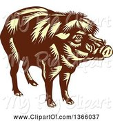 Swine Clipart of Retro Woodcut Brown and Yellow Philippine Warty Pig by Patrimonio