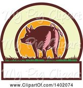 Swine Clipart of Retro Woodcut Rear View of a Pig with a Curly Tail in a Circle with Text Space by Patrimonio