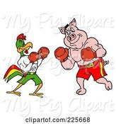 Swine Clipart of Rooster and Pig Boxing by LaffToon