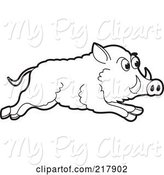 Swine Clipart of Running Outlined Wild Boar by Lal Perera