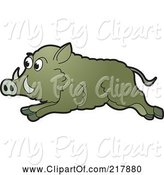 Swine Clipart of Running Wild Boar by Lal Perera