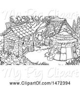 Swine Clipart of Scne of the Wolf and the Three Pigs in Their Brick, Wood and Straw Houses, Black and White by AtStockIllustration