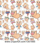 Swine Clipart of Seamless Background of Pigs Exercising by Graphics RF