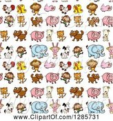 Swine Clipart of Seamless Background Pattern of Butterflies, Chickens, Monkeys, Birds, Dogs, Cats, Pigs, Rabbits and Elephants by Graphics RF