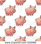 Swine Clipart of Seamless Background Pattern of Pigs by Vector Tradition SM