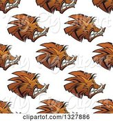 Swine Clipart of Seamless Background Pattern of Razorback Boar Faces by Vector Tradition SM