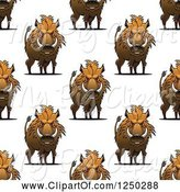 Swine Clipart of Seamless Background Pattern of Razorback Boars by Vector Tradition SM