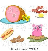 Swine Clipart of Set of Pork Food Items by Bpearth