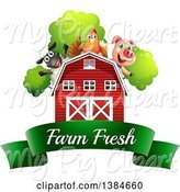 Swine Clipart of Sheep, Chicken and Pig over a Barn and Farm Fresh Banner by Graphics RF