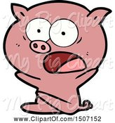 Swine Clipart of Shocked Pig Sitting down by Lineartestpilot