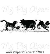 Swine Clipart of Silhouetted Cat Chick Pig and Dog by Prawny Vintage
