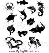 Swine Clipart of Silhouetted Crabs Fish Sea Turtle Dolphin Chinese Dragon Horse Shark Pig and Seahorse by Vector Tradition SM