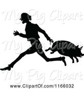 Swine Clipart of Silhouetted Farmer Carrying a Pig by Its Tail by Prawny Vintage