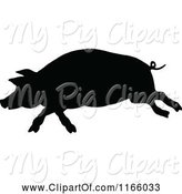 Swine Clipart of Silhouetted Running Pig by Prawny Vintage