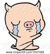 Swine Clipart of Sitting Pig Crying by Lineartestpilot