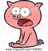 Swine Clipart of Sitting Pig Shouting by Lineartestpilot