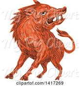 Swine Clipart of Sketched Angry Razorback Boar by Patrimonio