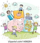 Swine Clipart of Sketched Giant Piggy Bank and Money Items with Children by BNP Design Studio