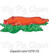Swine Clipart of Sketched Lechon Roasted Pig on Banana Leaves by Patrimonio