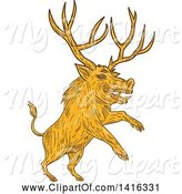 Swine Clipart of Sketched Rearing Razorback Boar Pig Beast with Antlers by Patrimonio