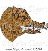 Swine Clipart of Sketched Wild Boar Pig Head with a Bone in Its Mouth by Patrimonio