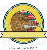 Swine Clipart of Sketched Wild Boar Pig Head with a Bone in Its Mouth Inside a Circle with Tartan by Patrimonio