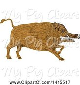 Swine Clipart of Sketched Wild Boar Pig with a Bone in Its Mouth by Patrimonio