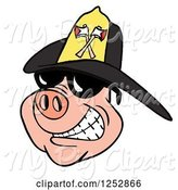 Swine Clipart of Smiling Pig Wearing Shades and a Black Fire Hat by LaffToon