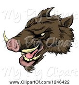 Swine Clipart of Snarling Aggressive Razorback Boar Mascot Head by AtStockIllustration