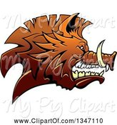 Swine Clipart of Snarling Vicious Brown Razorback Boar Mascot Head in Profile by Vector Tradition SM