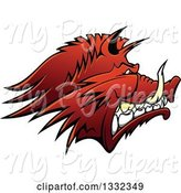 Swine Clipart of Snarling Vicious Razorback Boar Mascot Head in Profile by Vector Tradition SM
