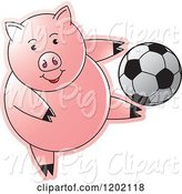 Swine Clipart of Sporty Pig Playing Soccer by Lal Perera